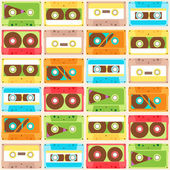 Seamless Pattern with cassettes — Stock Vector