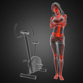 Woman radiography scan in gym room — Stock Photo