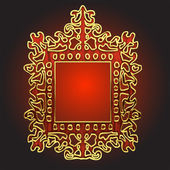 Vector golden frame with red wood — Stock Vector
