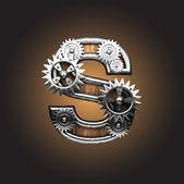 Vector metal figure with gearwheels — Stock Vector
