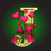 Vector golden figure with hearts — Stock Vector