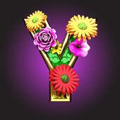 Rysunek wektor zielony z kwiatami — Wektor stockowy