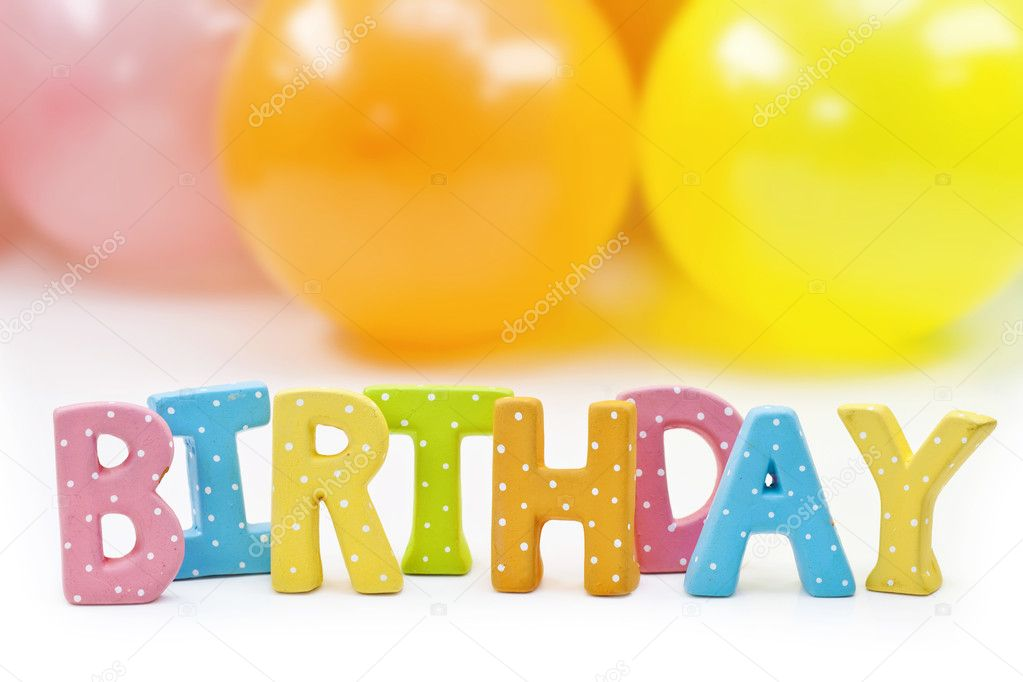 Colorful letters birthday and balloons — Stock Photo #11064085