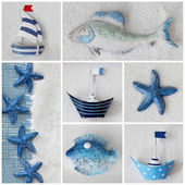 Collage with ships and sea stars — Stock Photo