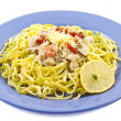 Tasty fish tagliatelle — Stock Photo