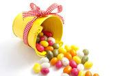 Yellow candy bucket — Stock Photo