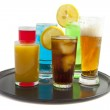 Tray with drinks — Stock Photo