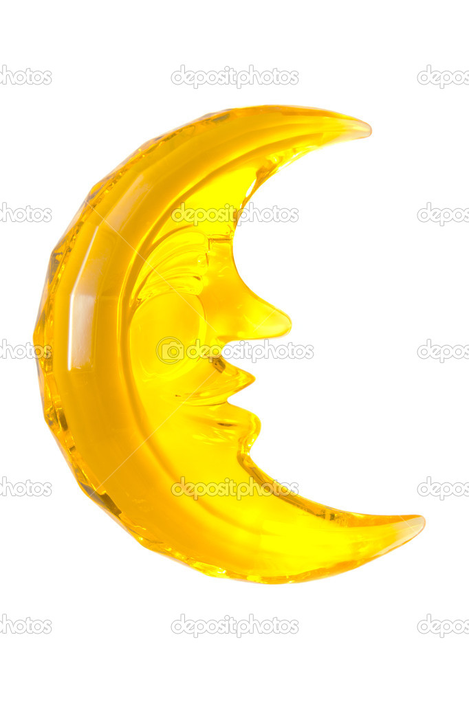Happy yellow moon on a white background — Stock Photo #11460123