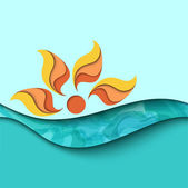 Sunset. Sea waves background — Stock Vector