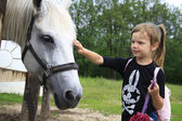 The little girl and horse — Stock Photo