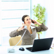 Portrait of happy business woman on phone call at office — Stock Photo #11315964