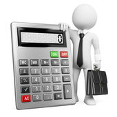 3d business white . Businessman with calculator. — Stock Photo