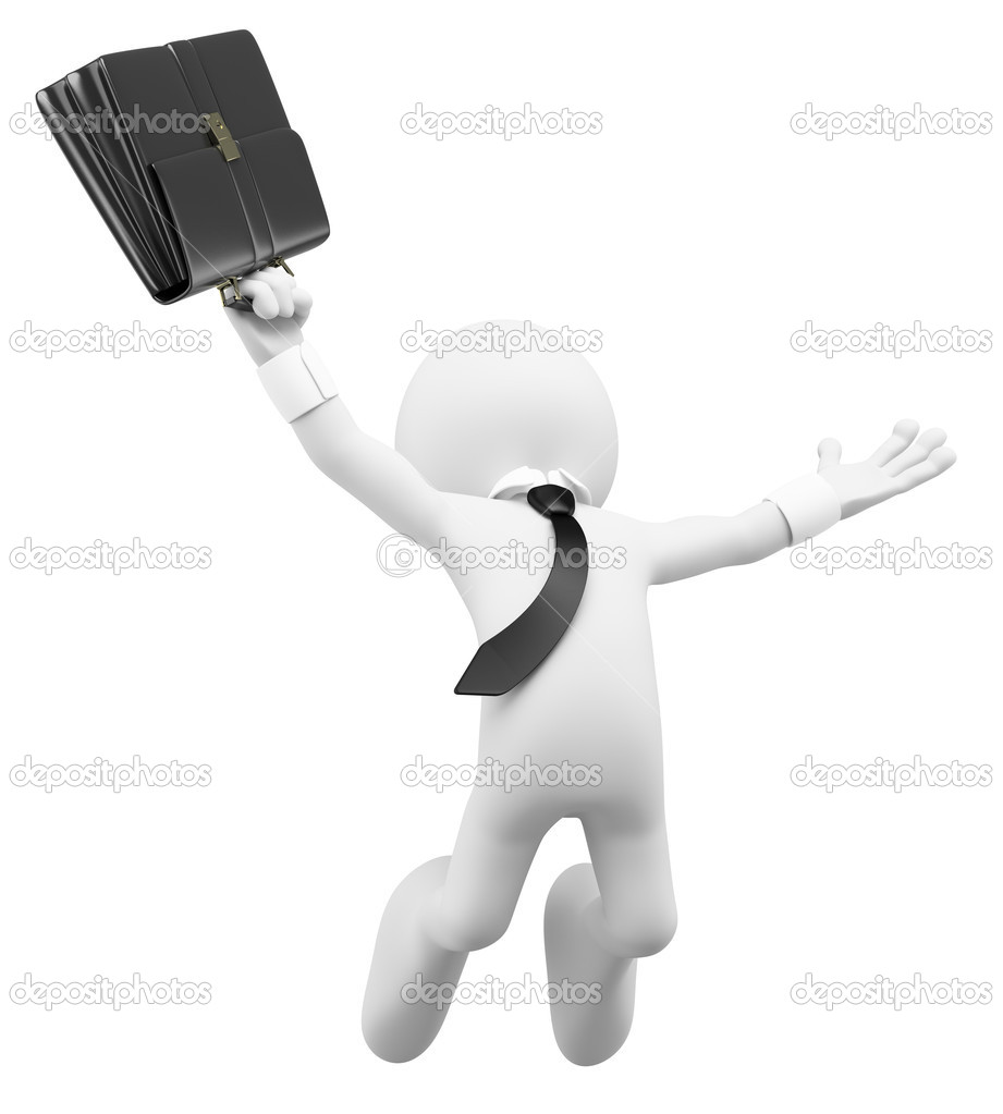 3d white business person happy jumping for the success with a briefcase. 3d image. Isolated white background.  Stock Photo #10758307