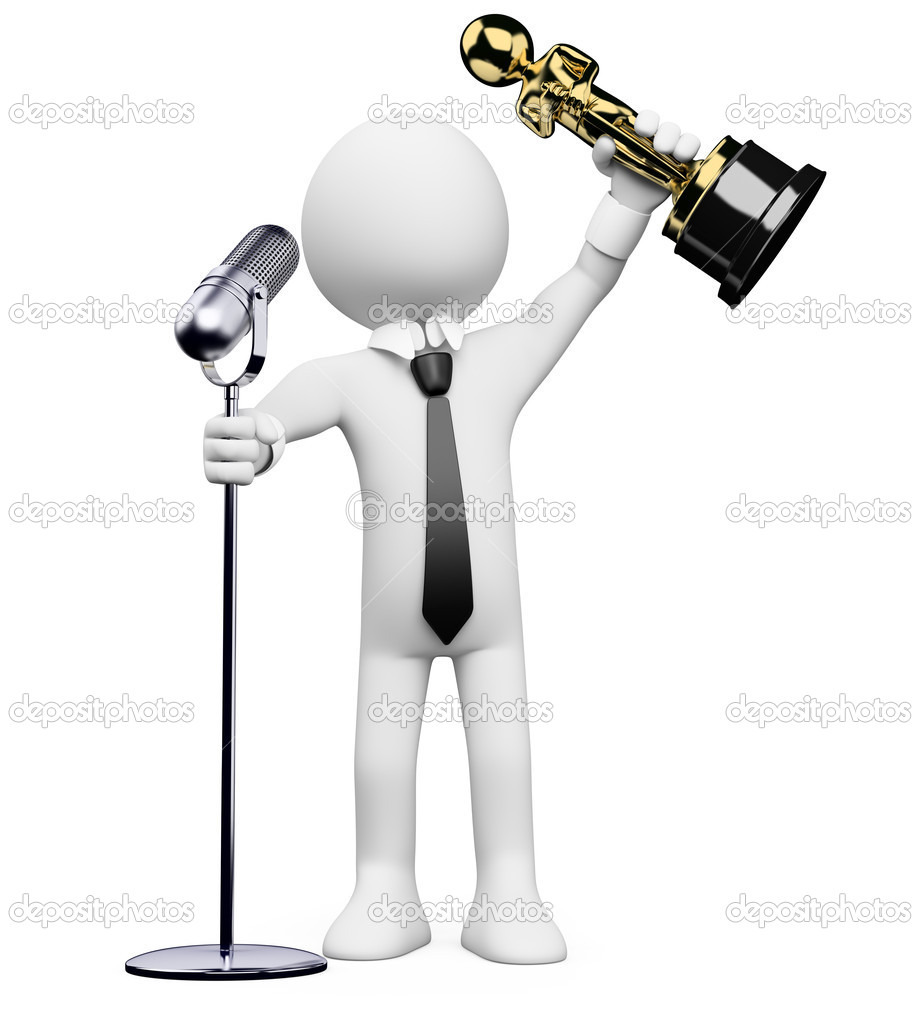 3d white person receiving an award at the Oscar ceremony with a microphone. 3d image. Isolated white background. — Stock Photo #10961223