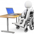 3D businessman white . Handicapped office worker — Stock Photo #11984432