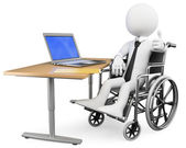 3D businessman white . Handicapped office worker — Stock Photo