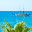 Stock Photo: Sailing yacht in the blue sea