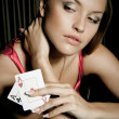 Sexy young girl in casino — Stok fotoğraf