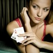 Sexy young girl in casino — Foto de Stock