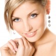 Close-up studio portrait of a beautiful fresh blond girl — Stock Photo