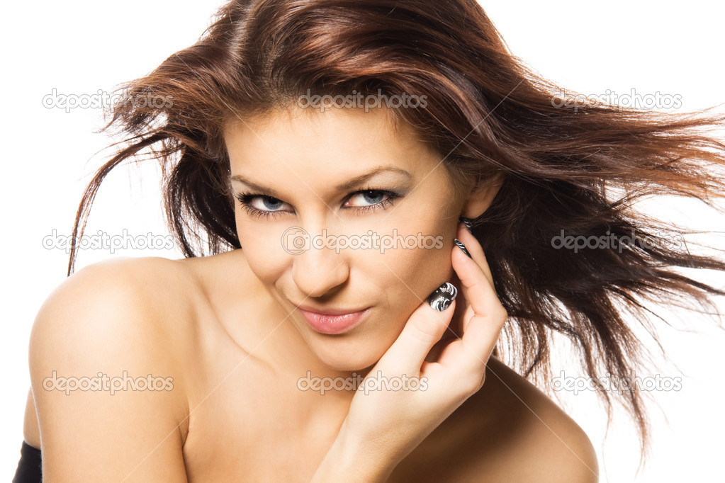 Close-up studio portrait of a sexy young smiling woman with beautiful eyes, isolated on white background — Stock Photo #11698998