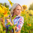 Attractive young blonde girl in sunflowers — Stock Photo #11895494
