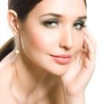 Studio portrait of beautiful sexy young, closeup fresh woman face — Stock Photo