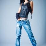 Girl in jeans — Stock Photo