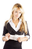 Studio portrait of a beautiful young smiling business woman — Stock Photo