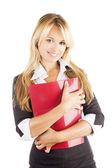 Retrato de estudio de una hermosa joven empresaria sonriente — Foto de Stock