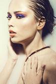 Closeup artísticas retrato de una bella mujer sexy — Foto de Stock