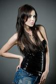 Sexy jovem morena — Fotografia Stock
