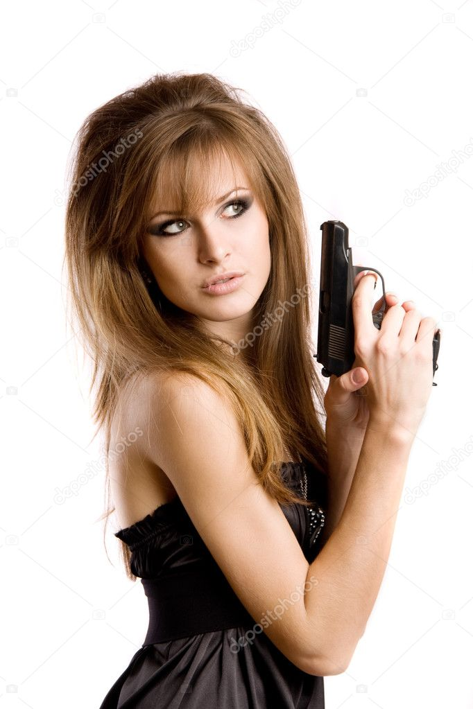 A girl with a gun — Stock Photo #11894886