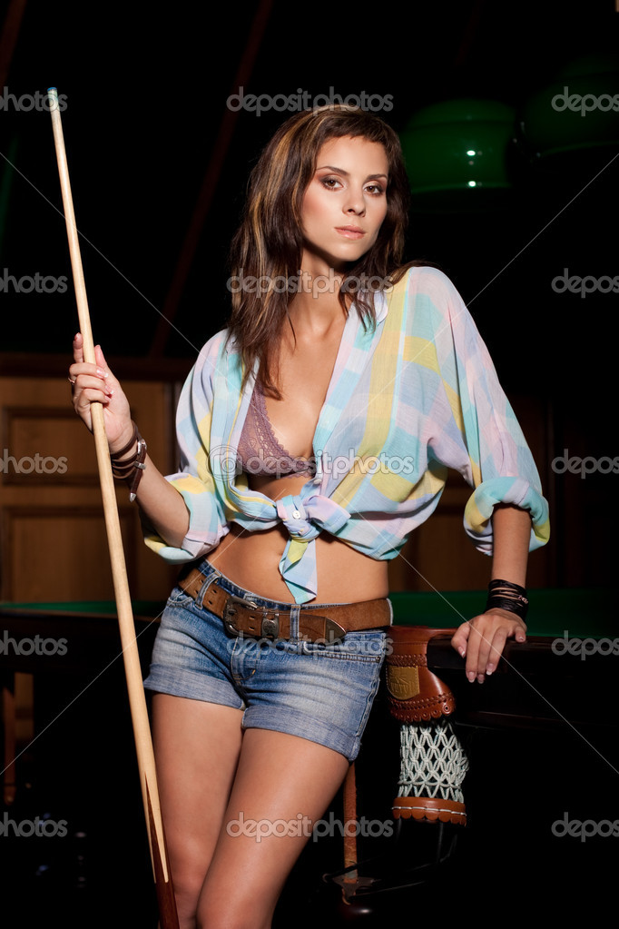 Beautiful sexy young woman with cue  Stock Photo #11895275
