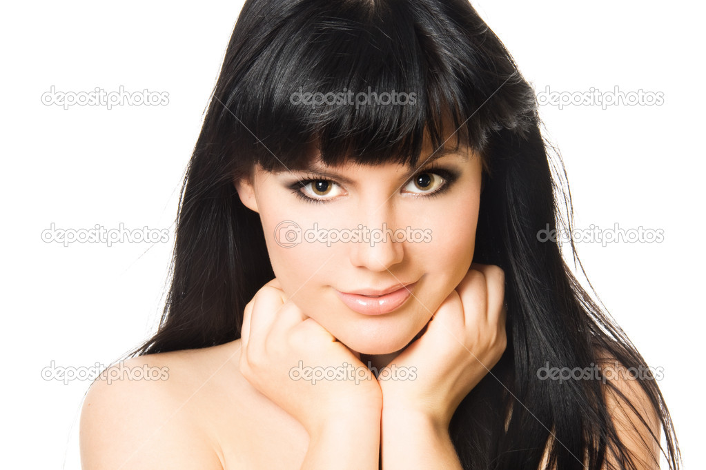 Close-up studio portrait of a sexy young smiling woman, isolated on white background  Stock Photo #11895662