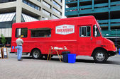 Red Wagon food truck — Stock Photo