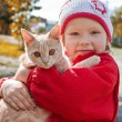 Little girl holding a cat — Stock Photo