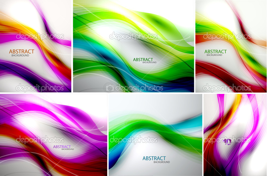 Set of abstract wave backgrounds. For normal quality increase steps in blending options — Stock Vector #10757566