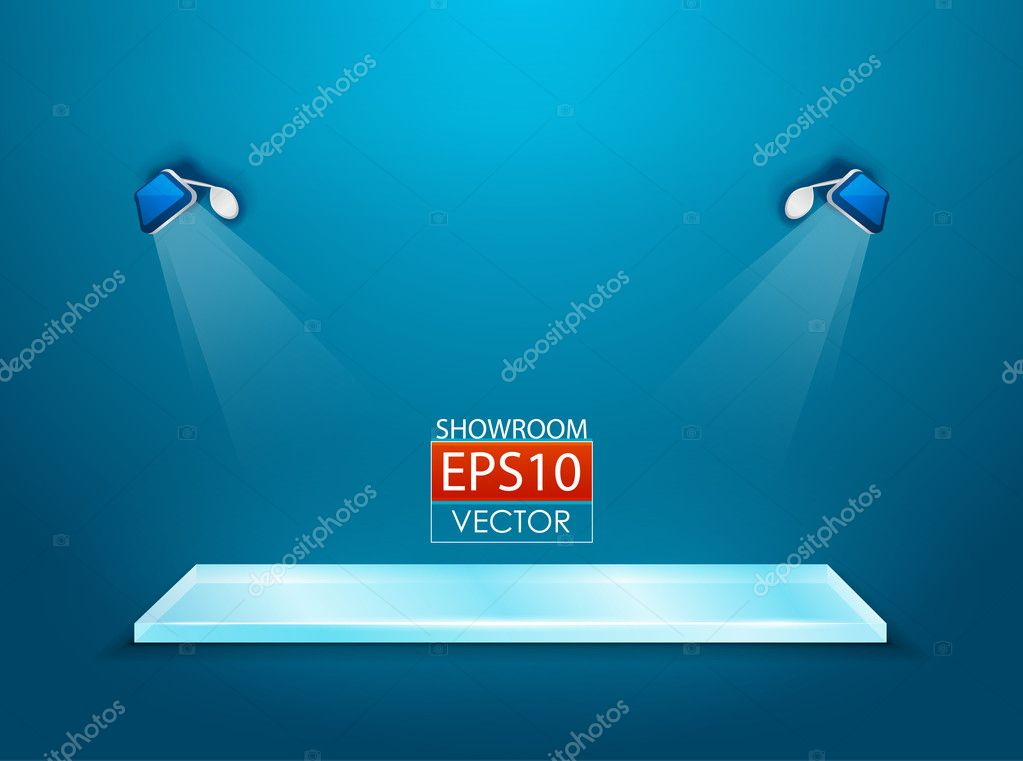 Vector showroom with glass shelf for your product — Stock Vector #10771442