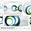 Big collection of blue swirl banners — Stock Vector