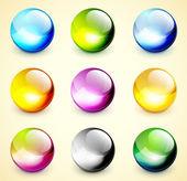 Zestaw kolorów lśniący sfery — Wektor stockowy