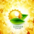 Summer leaf shiny background — Stock Vector