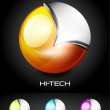 Hi-tech vector 3d sphere icon — Stock Vector