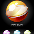 Set of color glossy sphere with metal elements — Vettoriali Stock