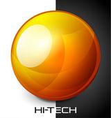 Botón realista esfera naranja — Vector de stock