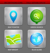 Map app icons — Stock Vector