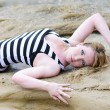 Beautiful blonde ashore epidemic deathes — Stock Photo #11856185