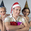 Christmas group of young — Stock Photo
