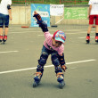 Stock Photo: The little boy skates on roller-skaters