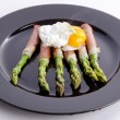 Asparagi with fried egg — Stock Photo #10851566